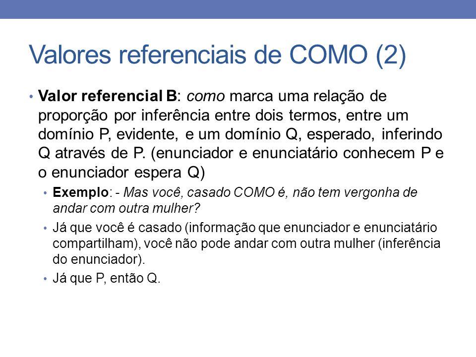Valores referenciais de COMO (2) Valor referencial B: como marca uma relação de proporção por inferência entre dois termos, entre um domínio P, eviden