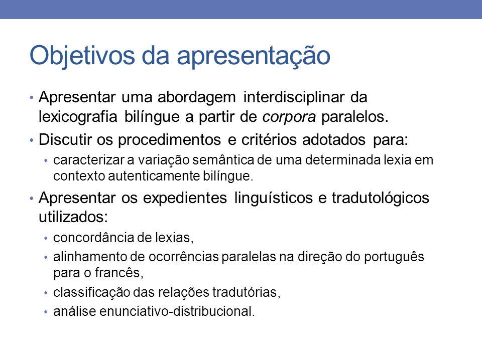Objetivos da apresentação Apresentar uma abordagem interdisciplinar da lexicografia bilíngue a partir de corpora paralelos. Discutir os procedimentos