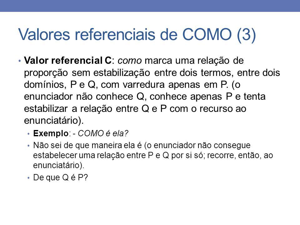 Valores referenciais de COMO (3) Valor referencial C: como marca uma relação de proporção sem estabilização entre dois termos, entre dois domínios, P