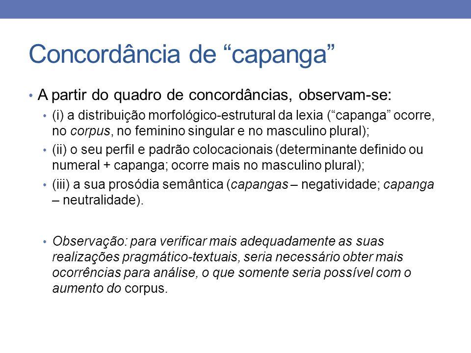 Concordância de capanga A partir do quadro de concordâncias, observam-se: (i) a distribuição morfológico-estrutural da lexia (capanga ocorre, no corpu