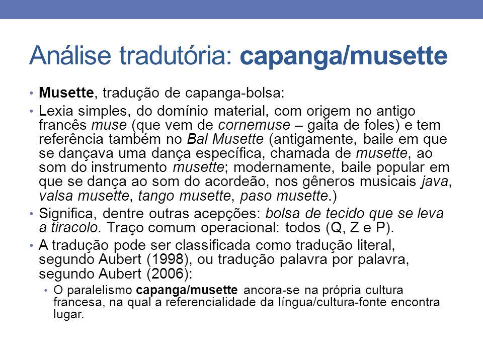 Análise tradutória: capanga/musette Musette, tradução de capanga-bolsa: Lexia simples, do domínio material, com origem no antigo francês muse (que vem