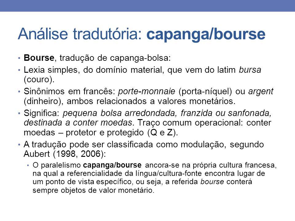 Análise tradutória: capanga/bourse Bourse, tradução de capanga-bolsa: Lexia simples, do domínio material, que vem do latim bursa (couro). Sinônimos em