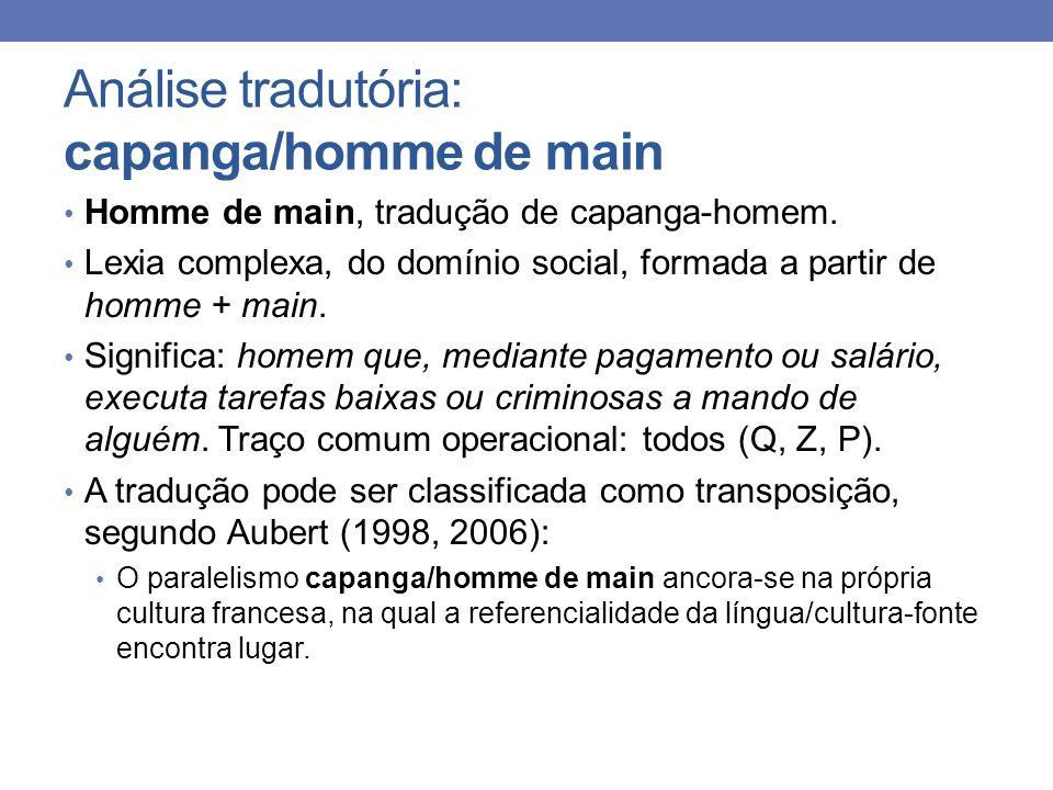 Análise tradutória: capanga/homme de main Homme de main, tradução de capanga-homem. Lexia complexa, do domínio social, formada a partir de homme + mai