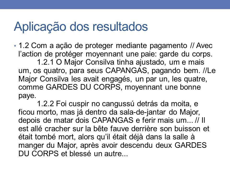Aplicação dos resultados 1.2 Com a ação de proteger mediante pagamento // Avec laction de protéger moyennant une paie: garde du corps. 1.2.1 O Major C