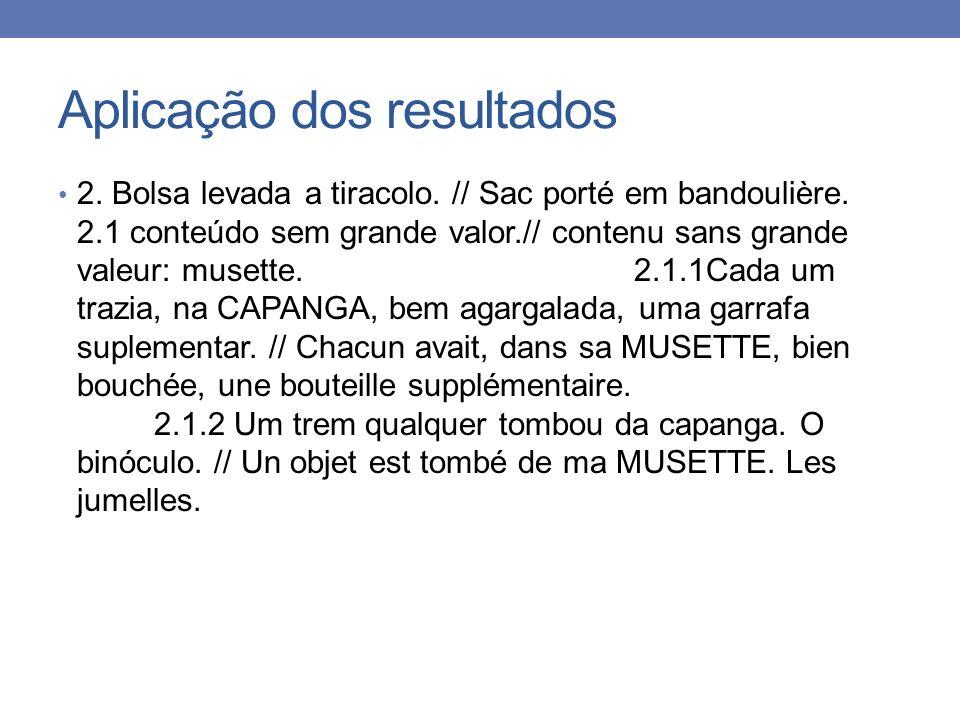 Aplicação dos resultados 2. Bolsa levada a tiracolo. // Sac porté em bandoulière. 2.1 conteúdo sem grande valor.// contenu sans grande valeur: musette