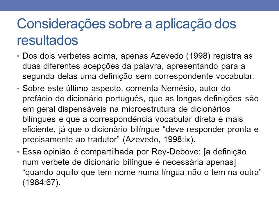 Considerações sobre a aplicação dos resultados Dos dois verbetes acima, apenas Azevedo (1998) registra as duas diferentes acepções da palavra, apresen
