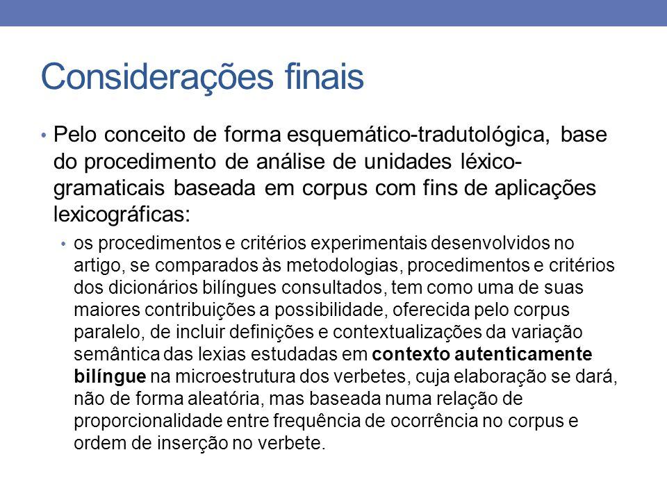 Considerações finais Pelo conceito de forma esquemático-tradutológica, base do procedimento de análise de unidades léxico- gramaticais baseada em corp
