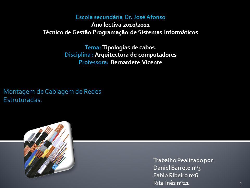 Montagem de Cablagem de Redes Estruturadas. 1 Trabalho Realizado por: Daniel Barreto nº3 Fábio Ribeiro nº6 Rita Inês nº21 Escola secundária Dr. José A