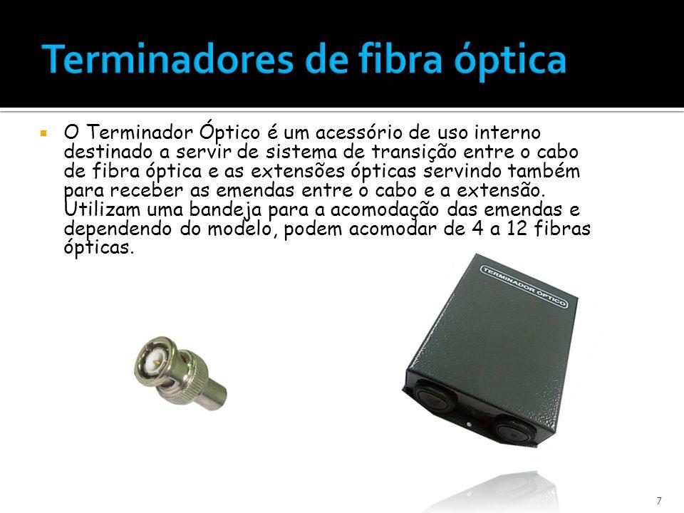 O Terminador Óptico é um acessório de uso interno destinado a servir de sistema de transição entre o cabo de fibra óptica e as extensões ópticas servindo também para receber as emendas entre o cabo e a extensão.