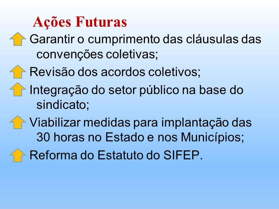 Garantir o cumprimento das cláusulas das convenções coletivas; Revisão dos acordos coletivos; Integração do setor público na base do sindicato; Viabil