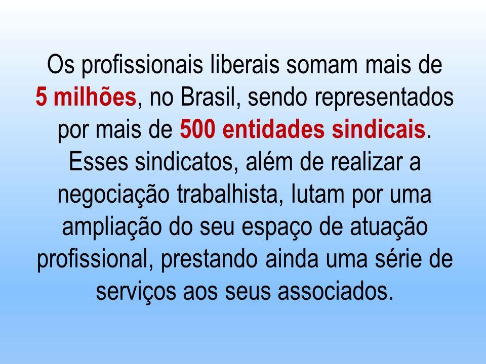 Os profissionais liberais somam mais de 5 milhões, no Brasil, sendo representados por mais de 500 entidades sindicais. Esses sindicatos, além de reali