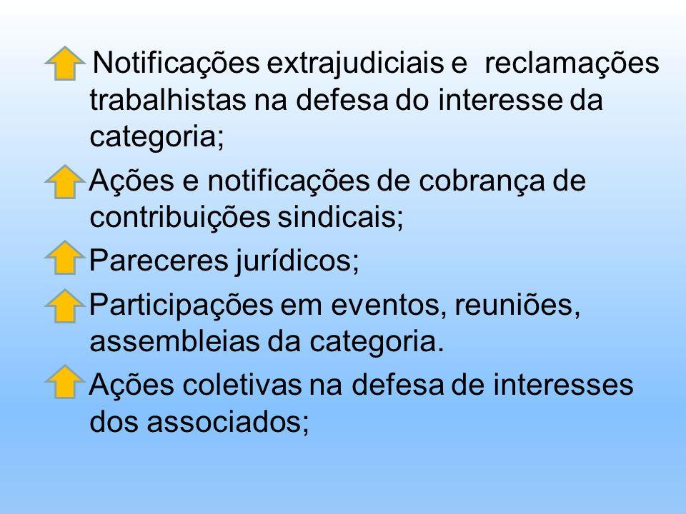 Notificações extrajudiciais e reclamações trabalhistas na defesa do interesse da categoria; Ações e notificações de cobrança de contribuições sindicai