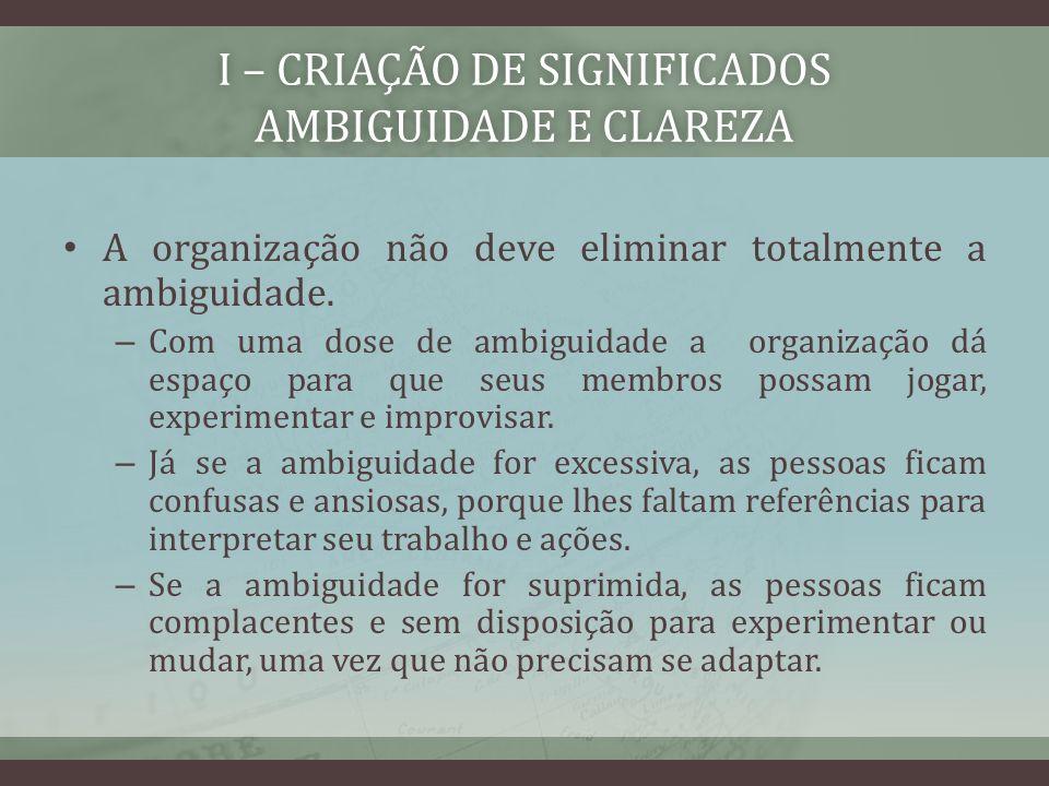 I – CRIAÇÃO DE SIGNIFICADOS AMBIGUIDADE E CLAREZA A organização não deve eliminar totalmente a ambiguidade. – Com uma dose de ambiguidade a organizaçã