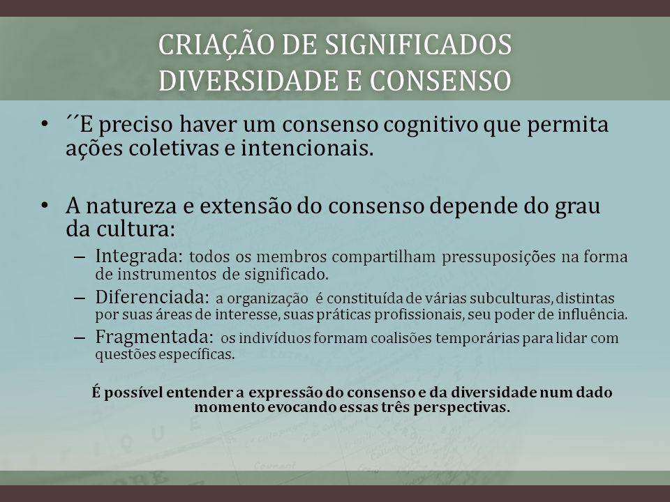 CRIAÇÃO DE SIGNIFICADOS DIVERSIDADE E CONSENSO ´´E preciso haver um consenso cognitivo que permita ações coletivas e intencionais. A natureza e extens