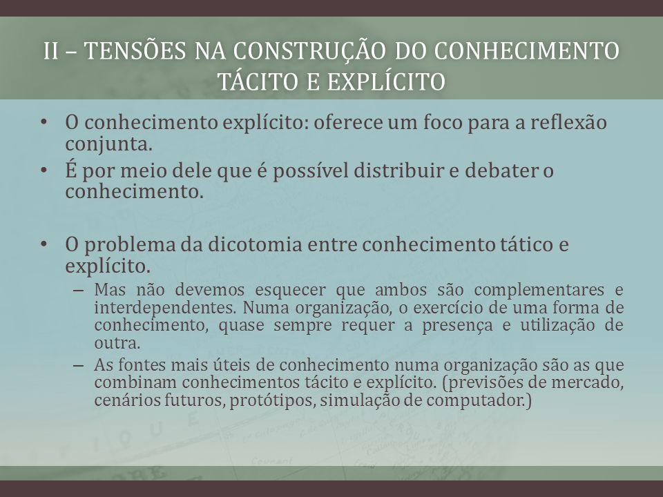 II – TENSÕES NA CONSTRUÇÃO DO CONHECIMENTO TÁCITO E EXPLÍCITO O conhecimento explícito: oferece um foco para a reflexão conjunta. É por meio dele que