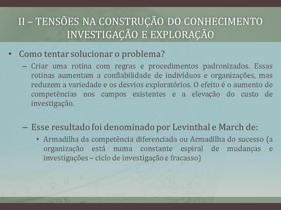 II – TENSÕES NA CONSTRUÇÃO DO CONHECIMENTO INVESTIGAÇÃO E EXPLORAÇÃO Como tentar solucionar o problema.