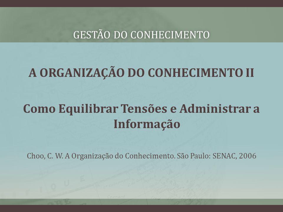 GESTÃO DO CONHECIMENTOGESTÃO DO CONHECIMENTO A ORGANIZAÇÃO DO CONHECIMENTO II Como Equilibrar Tensões e Administrar a Informação Choo, C.
