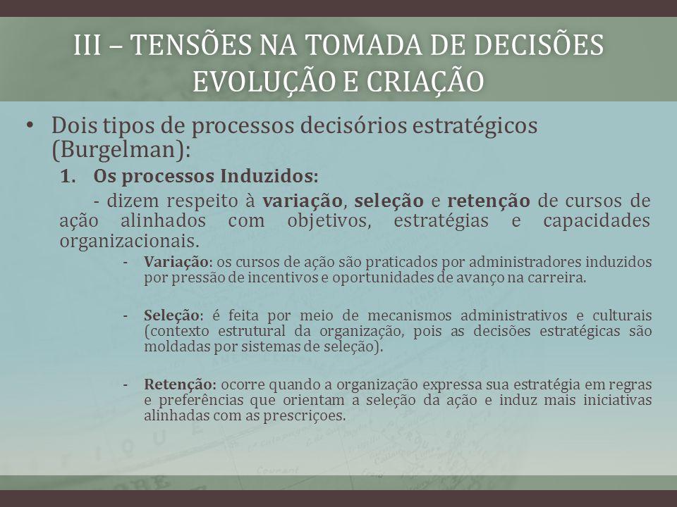 III – TENSÕES NA TOMADA DE DECISÕES EVOLUÇÃO E CRIAÇÃO Dois tipos de processos decisórios estratégicos (Burgelman): 1.Os processos Induzidos: - dizem