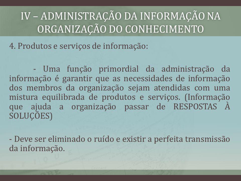 IV – ADMINISTRAÇÃO DA INFORMAÇÃO NA ORGANIZAÇÃO DO CONHECIMENTO 4. Produtos e serviços de informação: - Uma função primordial da administração da info