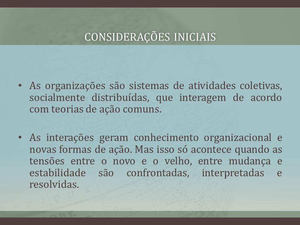 CONSIDERAÇÕES INICIAISCONSIDERAÇÕES INICIAIS As organizações são sistemas de atividades coletivas, socialmente distribuídas, que interagem de acordo c