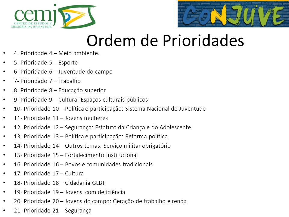 Ordem de Prioridades 4- Prioridade 4 – Meio ambiente. 5- Prioridade 5 – Esporte 6- Prioridade 6 – Juventude do campo 7- Prioridade 7 – Trabalho 8- Pri