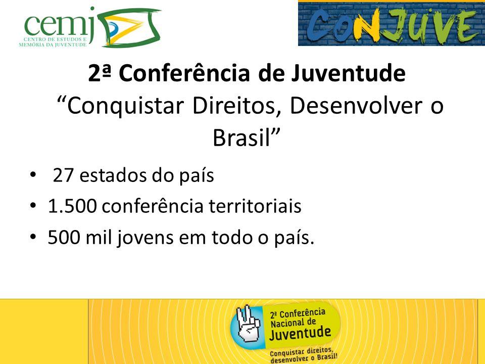 2ª Conferência de Juventude Conquistar Direitos, Desenvolver o Brasil 27 estados do país 1.500 conferência territoriais 500 mil jovens em todo o país.