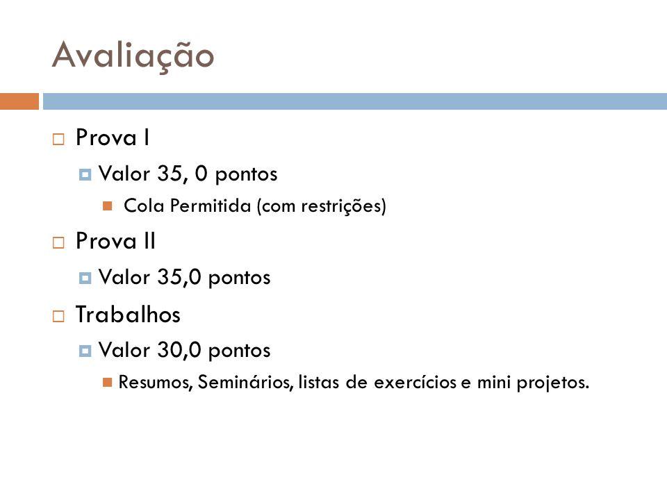 Avaliação Prova I Valor 35, 0 pontos Cola Permitida (com restrições) Prova II Valor 35,0 pontos Trabalhos Valor 30,0 pontos Resumos, Seminários, listas de exercícios e mini projetos.