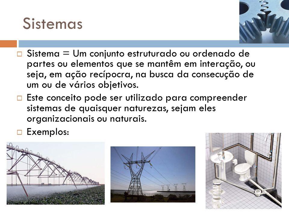 Sistemas Sistema = Um conjunto estruturado ou ordenado de partes ou elementos que se mantêm em interação, ou seja, em ação recípocra, na busca da consecução de um ou de vários objetivos.