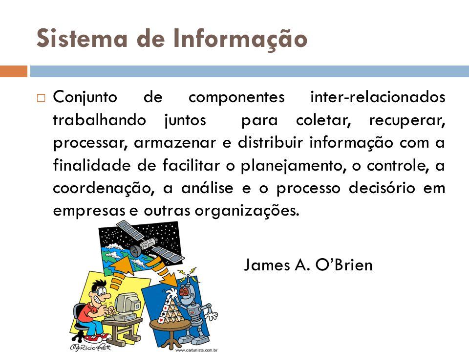 Sistema de Informação Conjunto de componentes inter-relacionados trabalhando juntos para coletar, recuperar, processar, armazenar e distribuir informa