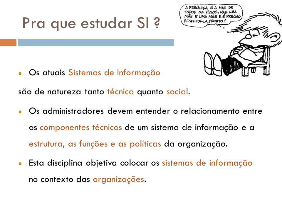 Pra que estudar SI ? l Os atuais Sistemas de Informação são de natureza tanto técnica quanto social. l Os administradores devem entender o relacioname
