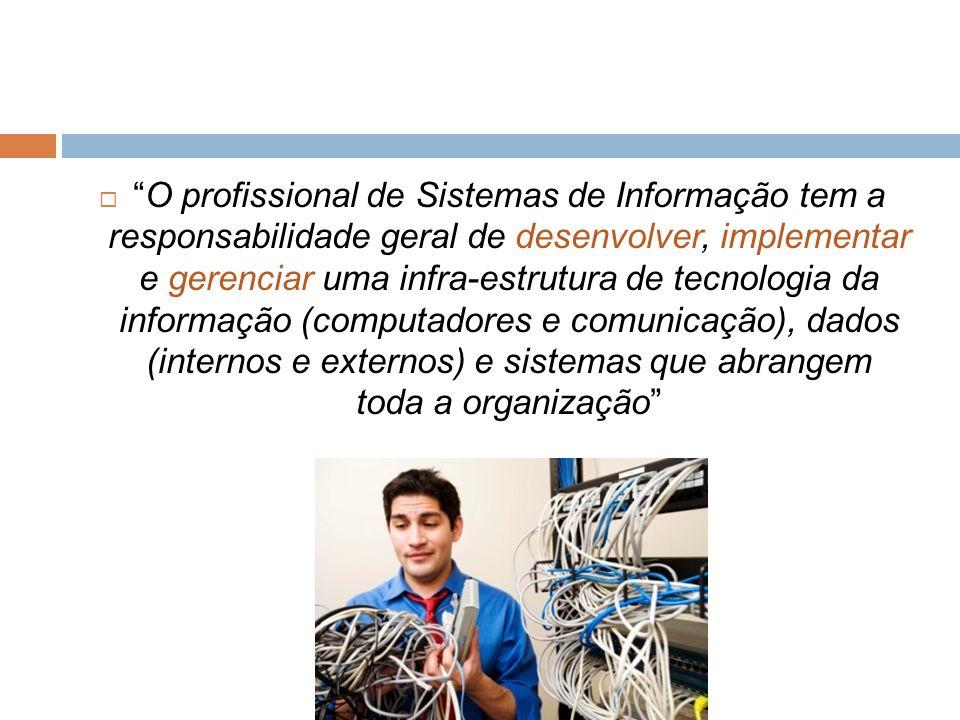 O profissional de Sistemas de Informação tem a responsabilidade geral de desenvolver, implementar e gerenciar uma infra-estrutura de tecnologia da inf