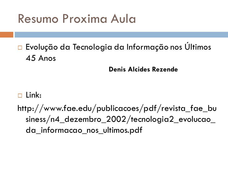 Resumo Proxima Aula Evolução da Tecnologia da Informação nos Últimos 45 Anos Denis Alcides Rezende Link: http://www.fae.edu/publicacoes/pdf/revista_fae_bu siness/n4_dezembro_2002/tecnologia2_evolucao_ da_informacao_nos_ultimos.pdf