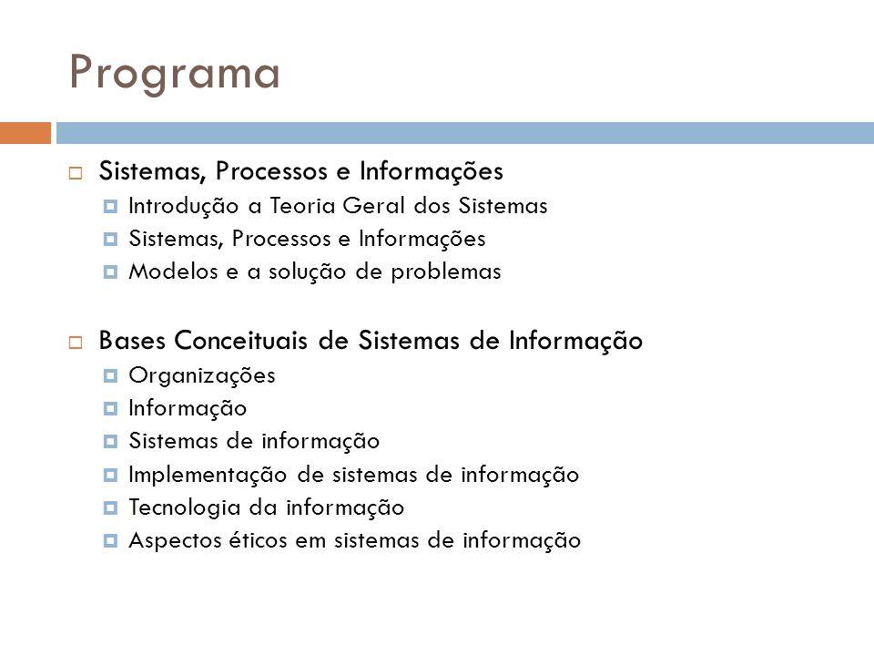 Programa Sistemas, Processos e Informações Introdução a Teoria Geral dos Sistemas Sistemas, Processos e Informações Modelos e a solução de problemas Bases Conceituais de Sistemas de Informação Organizações Informação Sistemas de informação Implementação de sistemas de informação Tecnologia da informação Aspectos éticos em sistemas de informação