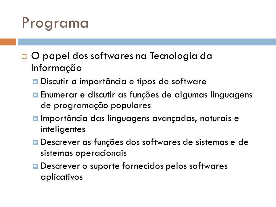 Programa O papel dos softwares na Tecnologia da Informação Discutir a importância e tipos de software Enumerar e discutir as funções de algumas lingua