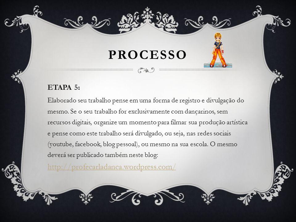 PROCESSO ETAPA 5: Elaborado seu trabalho pense em uma forma de registro e divulgação do mesmo. Se o seu trabalho for exclusivamente com dançarinos, se