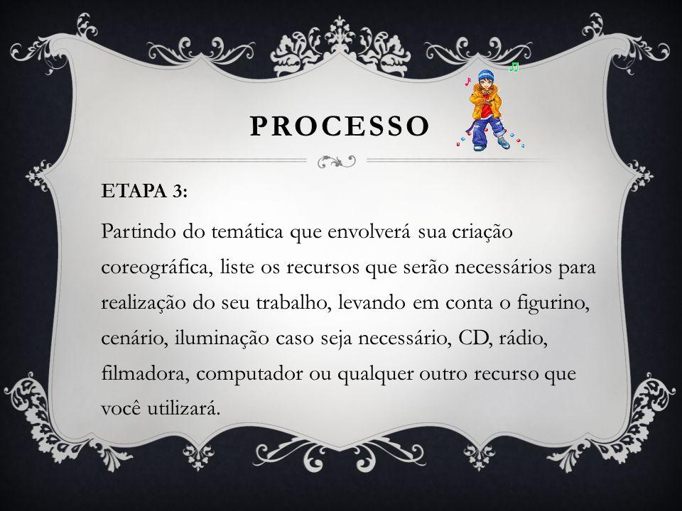 PROCESSO ETAPA 3: Partindo do temática que envolverá sua criação coreográfica, liste os recursos que serão necessários para realização do seu trabalho