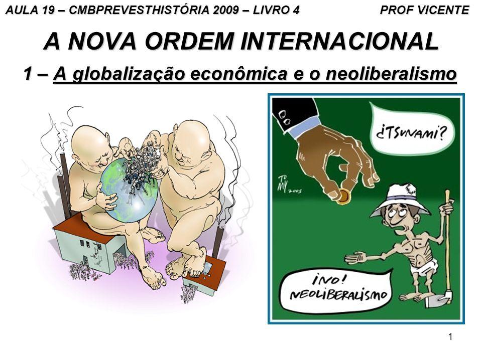 1 A NOVA ORDEM INTERNACIONAL 1 – A globalização econômica e o neoliberalismo AULA 19 – CMBPREVESTHISTÓRIA 2009 – LIVRO 4 PROF VICENTE
