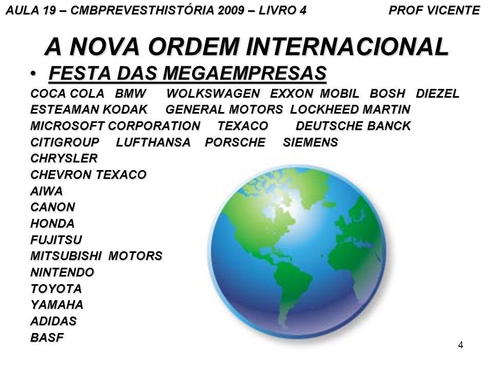 4 A NOVA ORDEM INTERNACIONAL FESTA DAS MEGAEMPRESASFESTA DAS MEGAEMPRESAS COCA COLA BMW WOLKSWAGEN EXXON MOBIL BOSH DIEZEL ESTEAMAN KODAK GENERAL MOTO