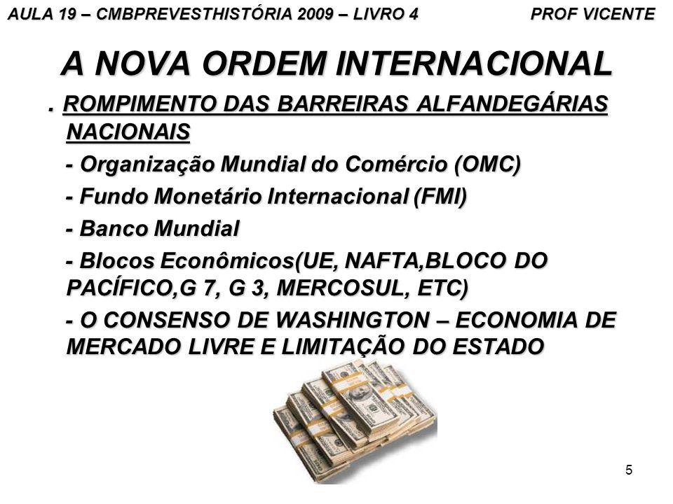 5 A NOVA ORDEM INTERNACIONAL. ROMPIMENTO DAS BARREIRAS ALFANDEGÁRIAS NACIONAIS. ROMPIMENTO DAS BARREIRAS ALFANDEGÁRIAS NACIONAIS - Organização Mundial