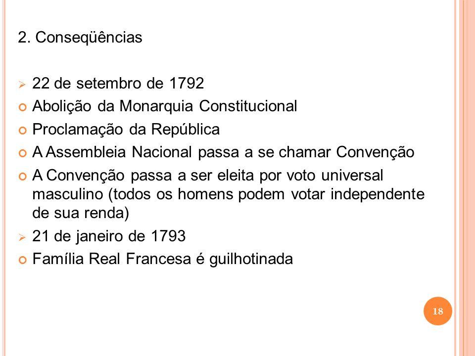 2. Conseqüências 22 de setembro de 1792 Abolição da Monarquia Constitucional Proclamação da República A Assembleia Nacional passa a se chamar Convençã