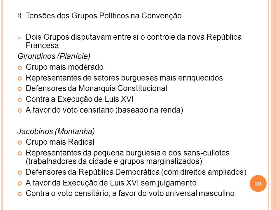 3. Tensões dos Grupos Políticos na Convenção Dois Grupos disputavam entre si o controle da nova República Francesa: Girondinos (Planície) Grupo mais m