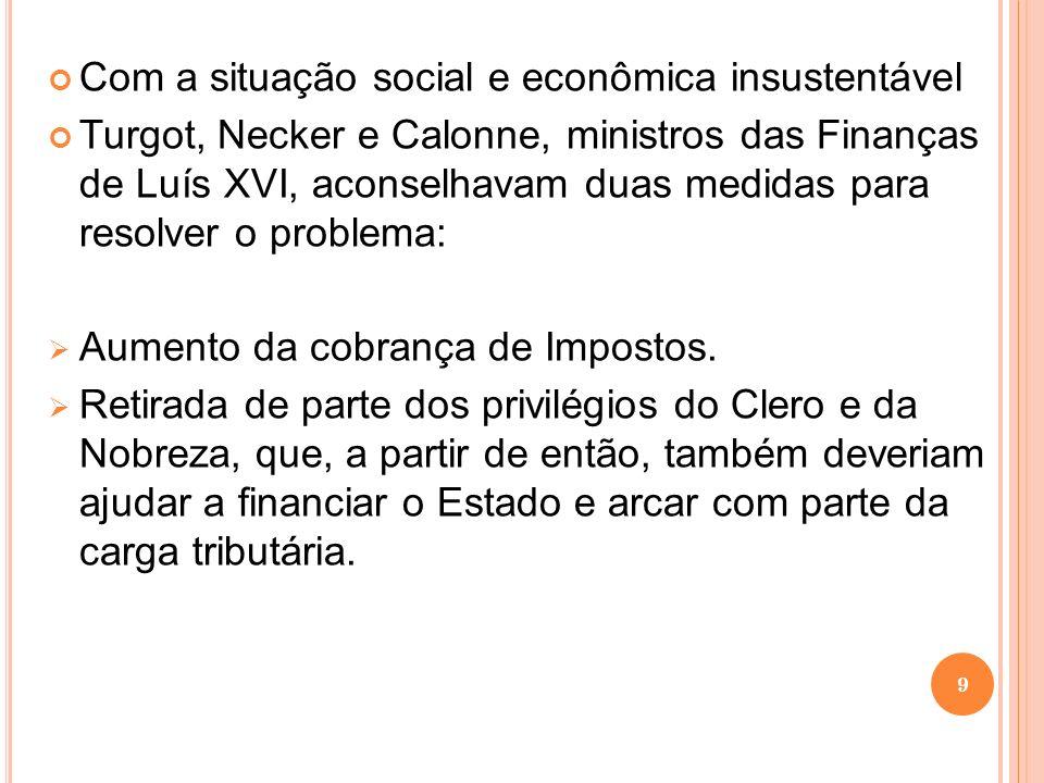 Com a situação social e econômica insustentável Turgot, Necker e Calonne, ministros das Finanças de Luís XVI, aconselhavam duas medidas para resolver