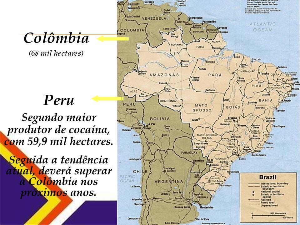 Colômbia Maior produtor mundial de cocaína, com 68 mil hectares de cultivo de coca.