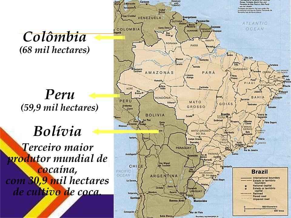 Colômbia Peru Segundo maior produtor de cocaína, com 59,9 mil hectares.
