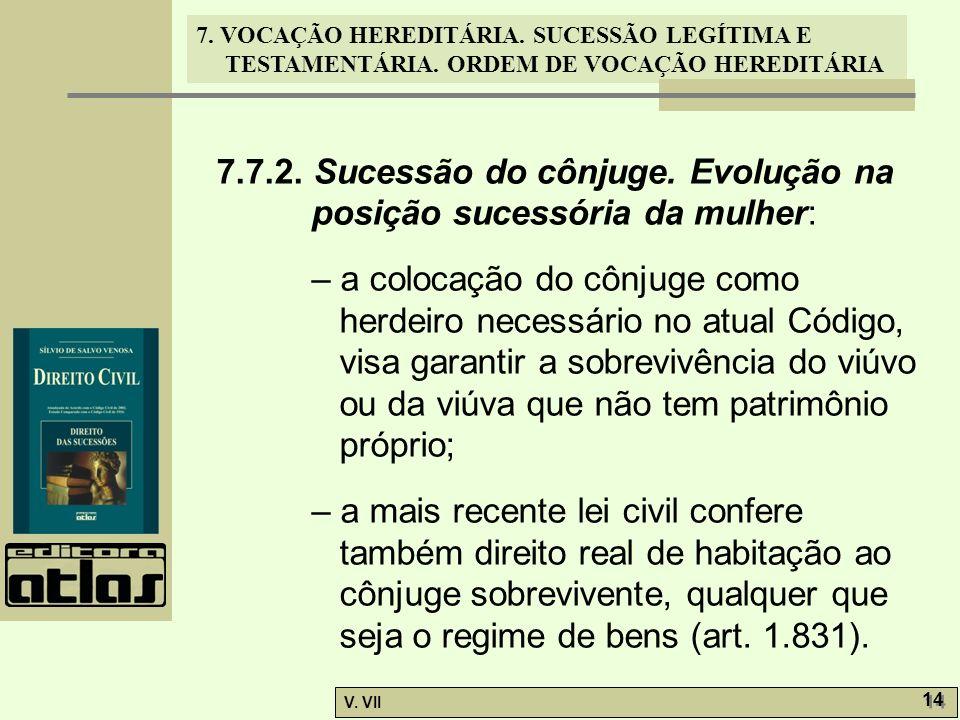 7. VOCAÇÃO HEREDITÁRIA. SUCESSÃO LEGÍTIMA E TESTAMENTÁRIA. ORDEM DE VOCAÇÃO HEREDITÁRIA V. VII 14 7.7.2. Sucessão do cônjuge. Evolução na posição suce