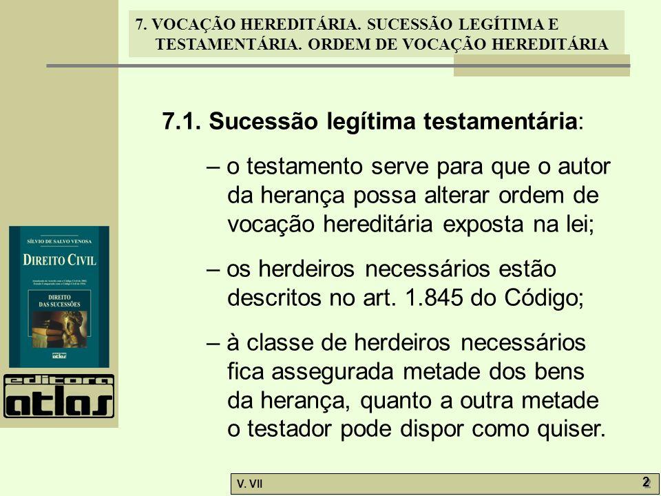 7. VOCAÇÃO HEREDITÁRIA. SUCESSÃO LEGÍTIMA E TESTAMENTÁRIA. ORDEM DE VOCAÇÃO HEREDITÁRIA V. VII 2 2 7.1. Sucessão legítima testamentária: – o testament
