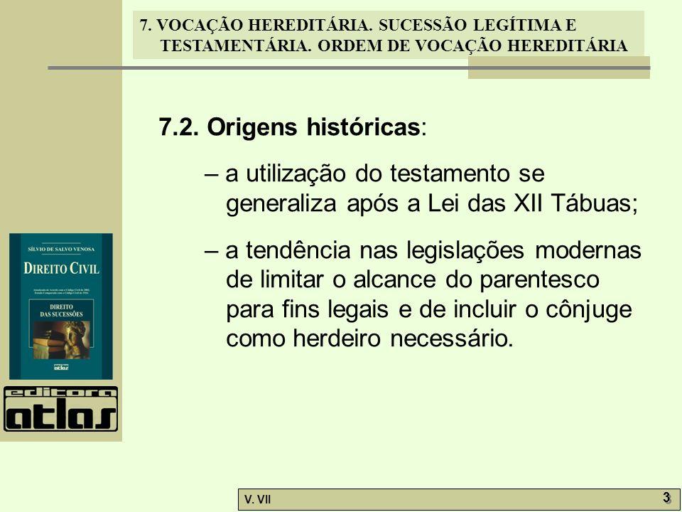 7. VOCAÇÃO HEREDITÁRIA. SUCESSÃO LEGÍTIMA E TESTAMENTÁRIA. ORDEM DE VOCAÇÃO HEREDITÁRIA V. VII 3 3 7.2. Origens históricas: – a utilização do testamen