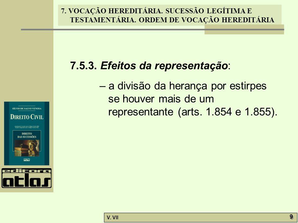 7. VOCAÇÃO HEREDITÁRIA. SUCESSÃO LEGÍTIMA E TESTAMENTÁRIA. ORDEM DE VOCAÇÃO HEREDITÁRIA V. VII 9 9 7.5.3. Efeitos da representação: – a divisão da her