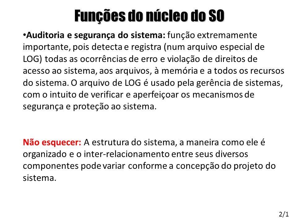 Funções do núcleo do SO Auditoria e segurança do sistema: função extremamente importante, pois detecta e registra (num arquivo especial de LOG) todas