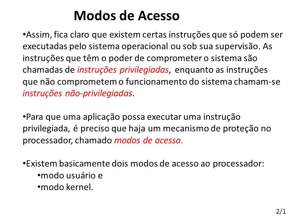 Modos de Acesso Assim, fica claro que existem certas instruções que só podem ser executadas pelo sistema operacional ou sob sua supervisão. As instruç